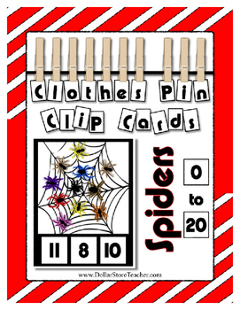 Spiders Clip Card Clothes Pin Cards ~ Math Center ~ Hallow