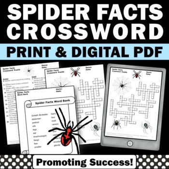 SPIDERS Halloween Crossword Puzzle Science No Prep Worksheet
