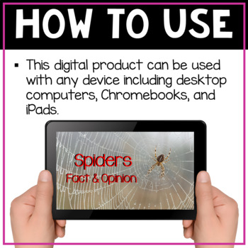 Spiders - Fact & Opinion - Digital Resource for Google Classroom