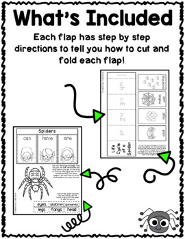 Spiders Flippy Flaps Interactive Notebook Lapbook