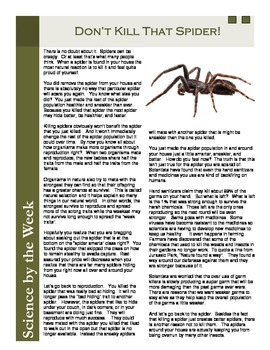Spiders:  Informational Text