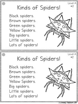 Spiders! Leveled Quick Read Card and Response Activities