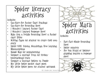 Spiders Literacy and Math Mini Unit