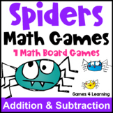 Spider Activities: Spiders Math Games: Addition and Subtraction Games