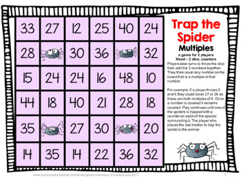 Spider Activities: Spiders Math Games Multiplication and Division