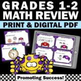1st Grade Math Review, Halloween Math Task Cards, Spider Theme