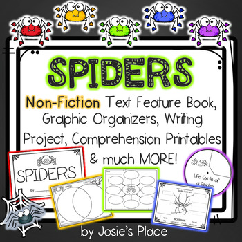 Spiders Non-Fiction Text Features Book, Writing Activity,  &  Much More!
