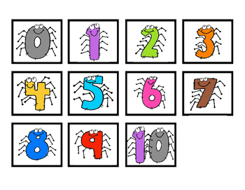 Spiders! Number Recognition 0 - 20, Making Sets, & Place Value