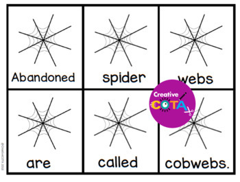 Spiders Scrambled Sentence Cards and Cut and Paste Build a Sentence