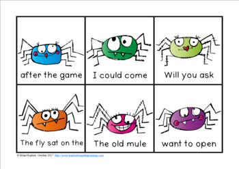 Spiders Sight Word Fluency Phrases Race
