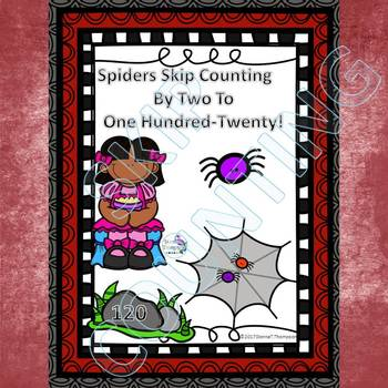 """Cute Spiders """"Skip Counting by 2"""" (Skip Counting Flashcards)"""