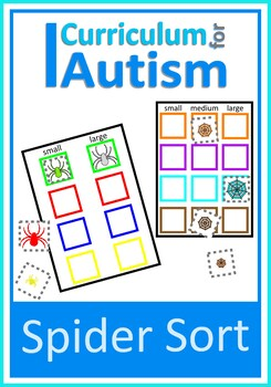 Basic Concepts Sorting Spiders by Size & Color, Autism Special Education