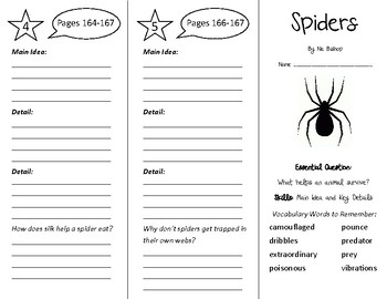 Spiders Trifold - Wonders 4th Grade Unit 2 Week 4
