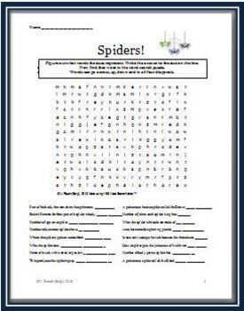 Spiders - Two Word Search Puzzles that Feature Vocabulary Related to Spiders