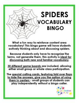 Spiders Vocabulary Bingo
