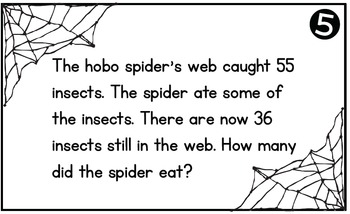 Spiders -  Word Problem Task Cards to 100