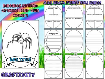Spiders - Writing Activity and Graphic Organizer Book Template, Animal Craft