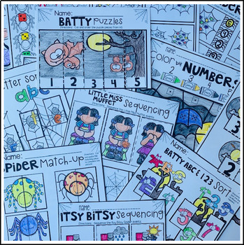 spiders and bats math and literacy worksheets for preschool  tpt spiders and bats math and literacy worksheets for preschool