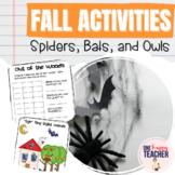 Spiders, Bats, Owls:  Math & Literacy Fall Unit Activities