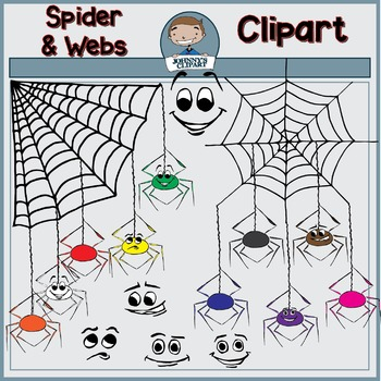 {Freebie} Spiders and Webs Clipart