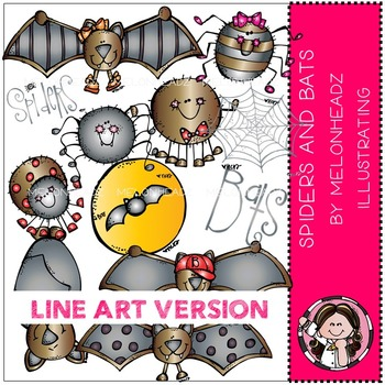 Spiders and bats by Melonheadz LINE ART