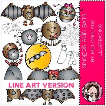 Spiders and bats clip art - LINE ART- Melonheadz clipart