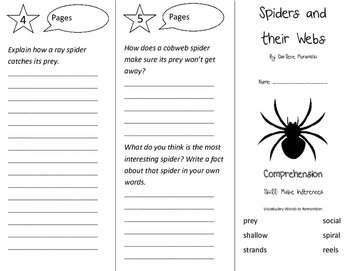 Spiders and their Webs Trifold - Storytown 3rd Grade Unit 6 Week 1