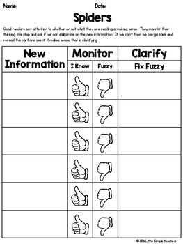 Spiders by Gail Gibbons - Monitor and Clarify Comprehension Lesson