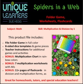 Spiders on a Web Folder Game Multiplication Review