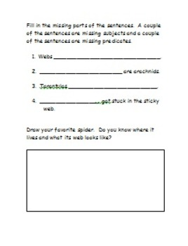 Spiders - Subjects and Predicates, Vocabulary, and Word Search