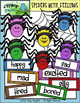 Spiders with Feelings and Labels Clip Art Set - Chirp Graphics