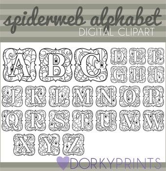 Spiderweb Alphabet Halloween Clip Art