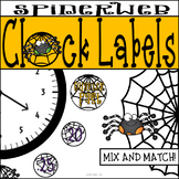 Spiderweb Clock Labels: Halloween or Arachnid Classroom Decor