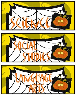Spiderweb Halloween Daily Schedule Cards for October