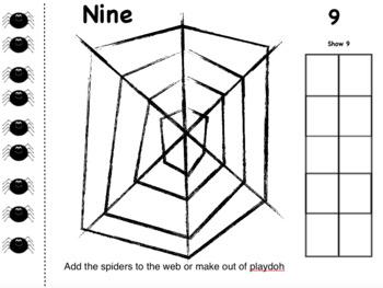 Spiderweb Playdoh Counting Mats Numbers / Halloween Fine Motor