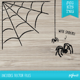 Spiderweb SVG and clipart cutting files for Cricut | Spider included!