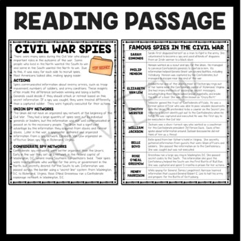 Spies During the Civil War Reading Comprehension Worksheet