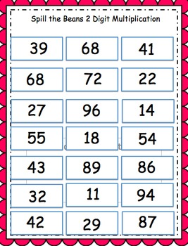 2-3 Digit Addition, Subtraction, Multiplication Game -Spill the Beans