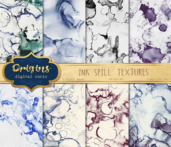Spilled Ink Textures, digital paper backgrounds, abstract paint modern art
