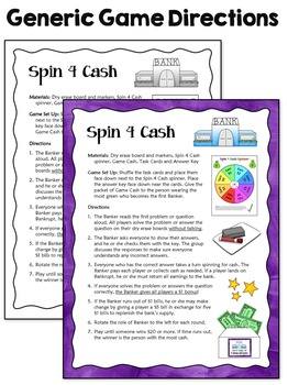 Task Cards Game: Spin 4 Cash