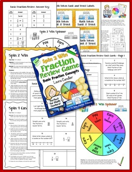 Fraction Spinner Games with Fraction Review Task Cards