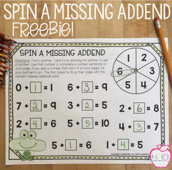 Spin A Missing Addend Freebie!
