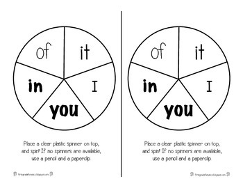 Spin A Sight Word (A worksheet set using 220 first grade sight words)