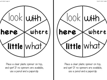 Spin A Sight Word (Paper Practice for teaching first grade words)