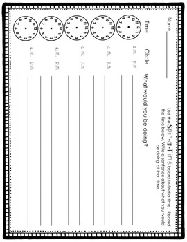 Spin A Time -- A Telling Time Activity