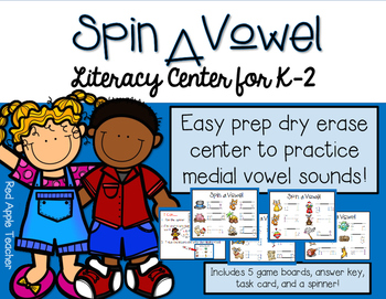 Spin A Vowel--Literacy Center Game for K-2
