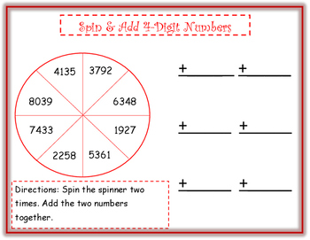 Spin & Add 3-digit and 4-digit Numbers (Center)