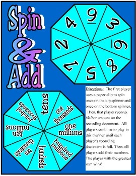 Spin & Add: Whole Numbers Through Hundred Millions