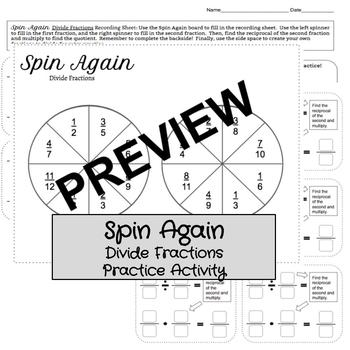 Spin Again: Divide Fractions