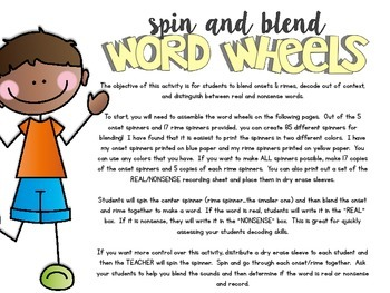 Spin & Blend Word Wheels (Small Group Phonics Activity)
